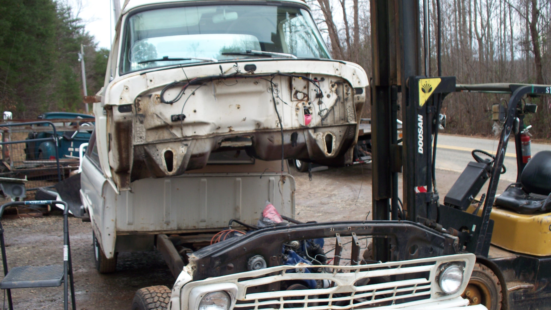 66 cab being pulled