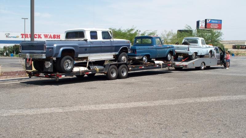 just a typical trip of getting trucks, 72 F-350 Crew Cab 4x4, and 2 64 F-100's
